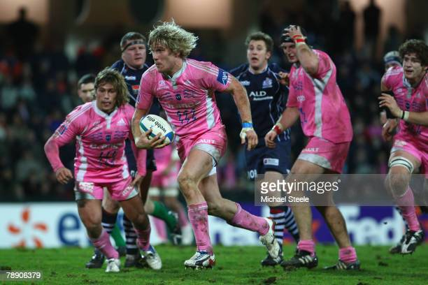 Remy Martin of Stade Francais powers his way through the Bristol defence during the Heineken Cup Pool 3 match between Stade Francais and Bristol at...