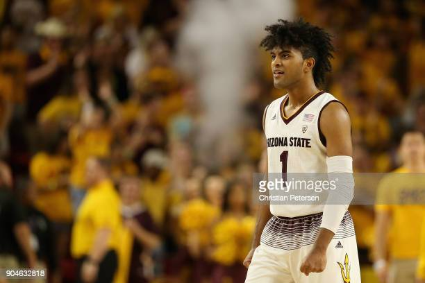 Remy Martin of the Arizona State Sun Devils reacts after defeating the Oregon State Beavers in the college basketball game at Wells Fargo Arena on...