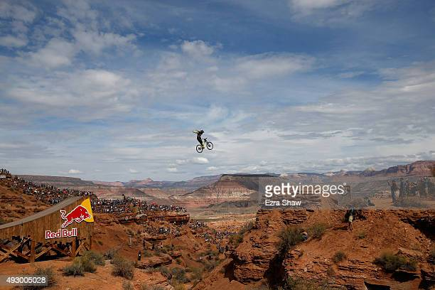 Remy Metailler of France goes over a jump during the finals of the Red Bull Rampage on October 16 2015 in Virgin Utah The Red Bull Rampage is an...