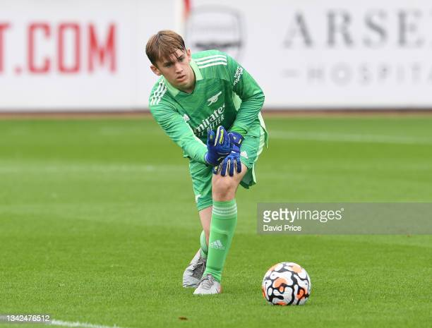 Remy Mitchell of Arsenal during the U18 Premier League match between Arsenal U18 and Birmingham City U18 at London Colney on September 25, 2021 in St...