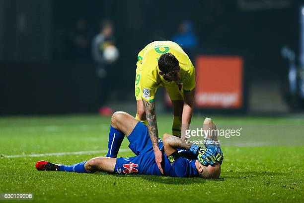 Remy Riou of Nantes and Emiliano Sala of Nantes during the French Ligue 1 match between Angers and Nantes on December 16 2016 in Angers France