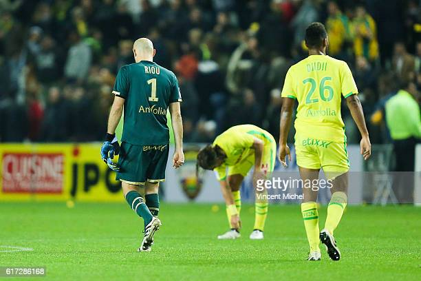 Remy Riou of Nantes during the Ligue 1 match between FC Nantes and Stade Rennais at Stade de la Beaujoire on October 22 2016 in Nantes France