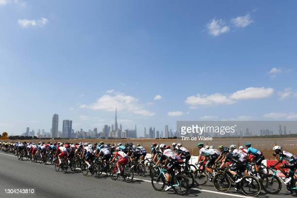 Remy Rochas of France and Team Cofidis, Kaden Groves of Australia, Tsgabu Grmay of Ethiopia and Team BikeExchange, Alberto Dainese of Italy and Team...