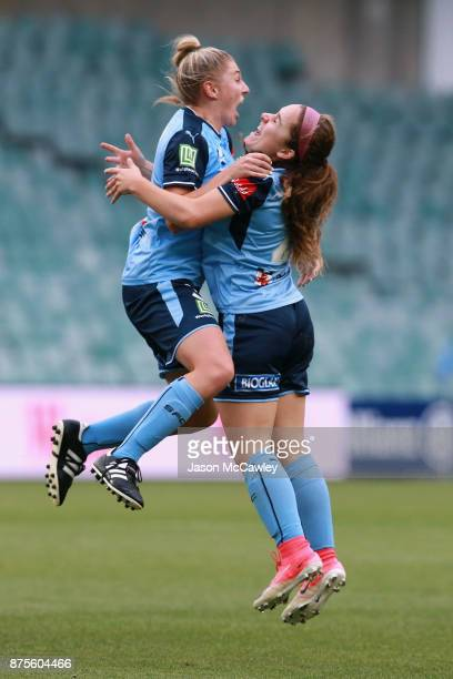 Remy Siemsen of Sydney celebrates with team mates after scoring a goal during the round four WLeague match between Sydney and Melbourne City at...