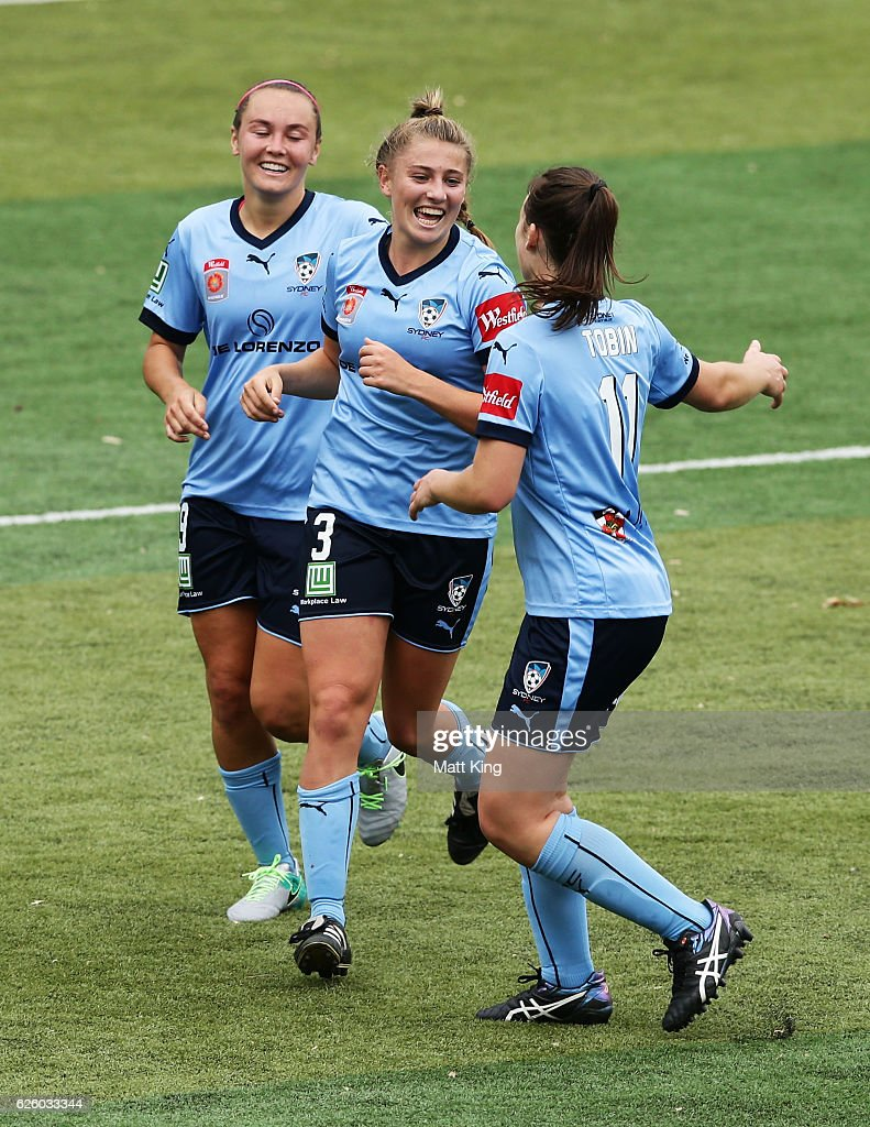 Remy Siemsen of Sydney FC (C) celebrates with team mates after scoring a goal during the round four W-League match between Sydney FC and Adelaide United at Seymour Shaw on November 27, 2016 in Sydney, Australia.