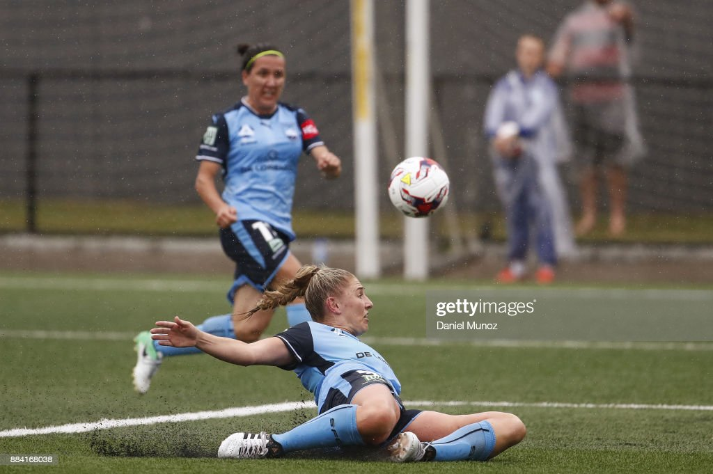 Remy Siemsen of Sydney FC slides for the ball during the round six W-League match between Sydney FC and Melbourne Victory at Cromer Park on December 2, 2017 in Sydney, Australia.