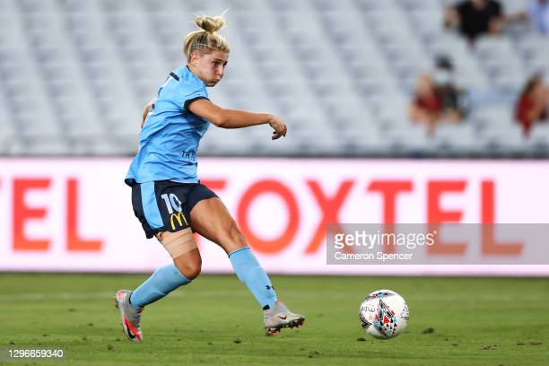 Remy Siemsen of Sydney FC strikes the ball during the round four W-League match between Sydney FC and the Western Sydney Wanderers at ANZ Stadium, on...