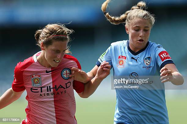 Remy Siemsen of Sydney is challenged by Rebekah Stott of Melbourne City during the round 11 W-League match between Sydney FC and Melbourne City FC at...