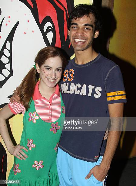 Remy Zaken and Sanjaya Malakar pose backstage at Freckleface Strawberry The Musical at New World Stages on February 23 2011 in New York City