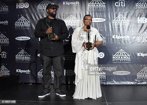 Ren and EazyE's mother Katie Wright pose in the press room at the 31st Annual Rock And Roll Hall Of Fame Induction Ceremony at Barclays Center on...