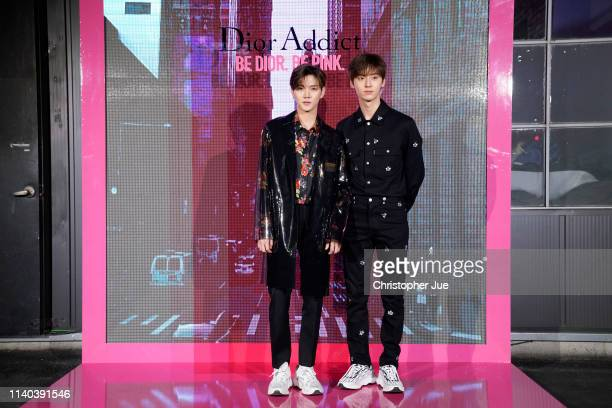 Ren and Minhyun of boyband group NU'EST attend Dior Addict Stellar Shine launch at Layers 57 on April 04 2019 in Seoul South Korea