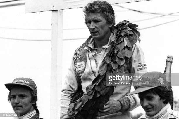 René Arnoux, Jean-Pierre Jabouille, Gilles Villeneuve, Grand Prix of France, Dijon-Prenois, 01 July 1979. Arnoux and Villeneuve after their epic...