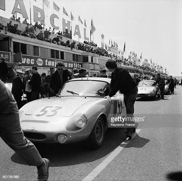 René Bonnet car number 53 of French team Beltoise and Bobrowski winner at energy efficiency at the 24 Heures du Mans car race on June 16 1963 in Le...