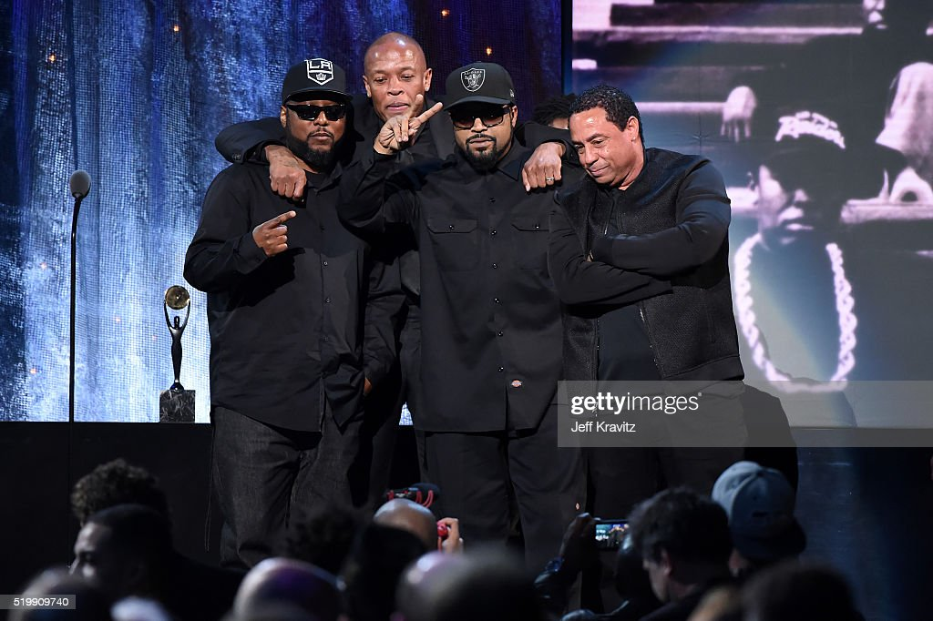 MC Ren, Dr. Dre, Ice Cube and DJ Yella of N.W.A. speak onstage at the 31st Annual Rock And Roll Hall Of Fame Induction Ceremony at Barclays Center on April 8, 2016 in New York City.