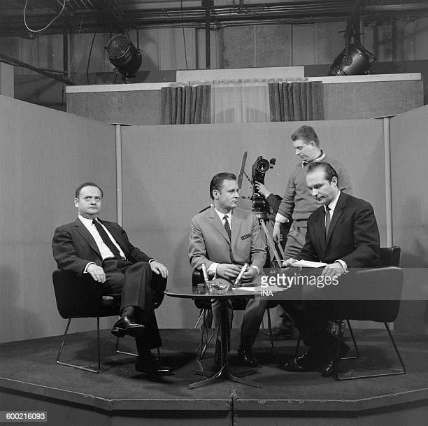 René Goscinny Albert Uderzo and Yves Guy Berges during the recording of the émisson 'Panorama'
