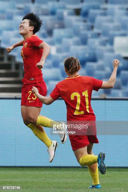 Ren Guilin of China PR celebrates a goal during the Women's International match between the Australian Matildas and China PR at Simonds Stadium on...