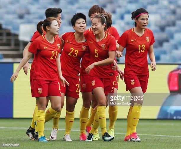Ren Guilin of China PR celebrates a goal during the Women's International match between the Australian Matildas and China PR at Simonds Stadium on...