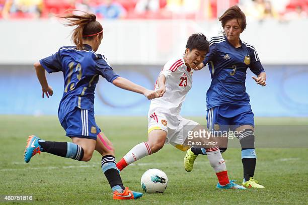 Ren Guixin of China competes in the Brasilia International Tournament match between Argentina and China at Mane Garrincha Stadium on December 21 2014...