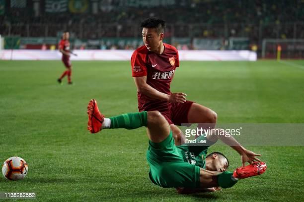 Ren Hang of Hebei China Forture and Li Ke of Beijing Guoan in action during 2019 China Super League between Hebei China Forture and Beijing Guoan at...