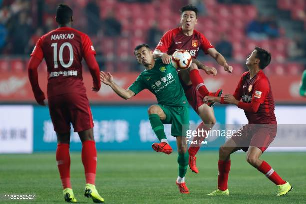 Ren Hang of Hebei China Forture in action during 2019 China Super League between Hebei China Forture and Beijing Guoan at Langfang Sports Center on...