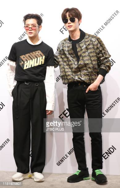 Ren Hwang Min Hyun the group's NU'EST at the launching event for the Gentle Fendi collaboration collection held at the Gentlemonster flagship store...