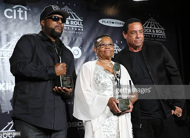 MC Ren Katie Wright and DJ Yella pose in the press room at the 31st Annual Rock And Roll Hall Of Fame Induction Ceremony at Barclays Center of...