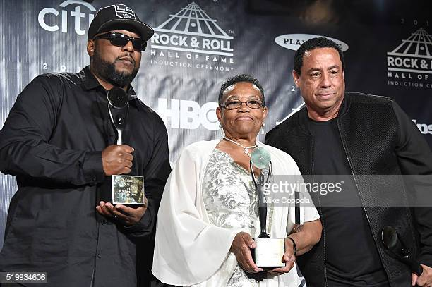 MC Ren Katie Wright and DJ Yella pose in the press room at the 31st Annual Rock And Roll Hall Of Fame Induction Ceremony at Barclays Center on April...