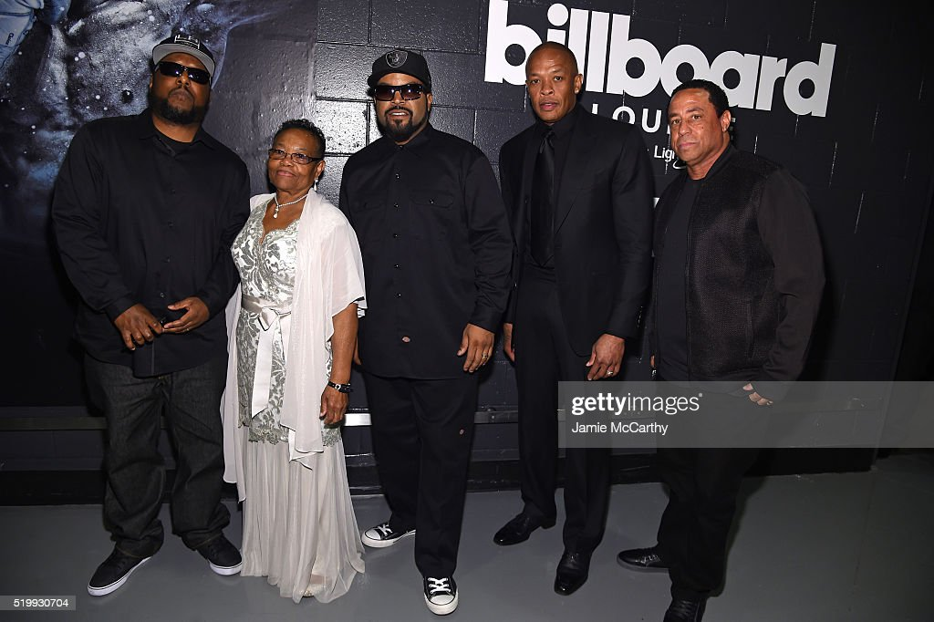 MC Ren, Katie Wright, Ice Cube, Dr. Dre, and DJ Yella attend the 31st Annual Rock And Roll Hall Of Fame Induction Ceremony at Barclays Center of Brooklyn on April 8, 2016 in New York City.