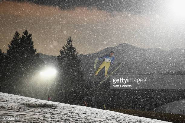 Ren Mikase competes during the Qualification Round on day one of the FIS Ski Jumping Women's World cup Zao at Kuraray Zao Schanze on January 18 2018...