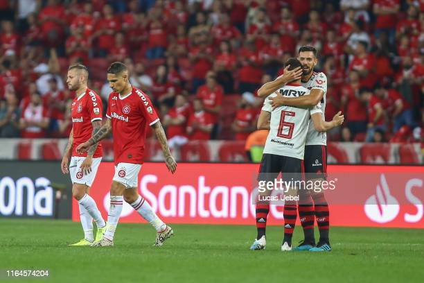 Renê of Flamengo celebrates with teammate classifying to the semifinals after the match against Internacional as part of Copa CONMEBOL Libertadores...