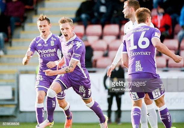 S��ren Rieks of IFK Goteborg celebrates after scoring 22 during the Allsvenskan match between Orebro SK and IFK Goteborg at Behrn Arena on April 24...