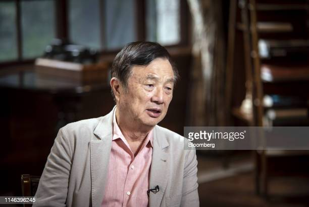 Ren Zhengfei, founder and chief executive officer of Huawei Technologies Co., speaks during a Bloomberg Television interview at the company's...