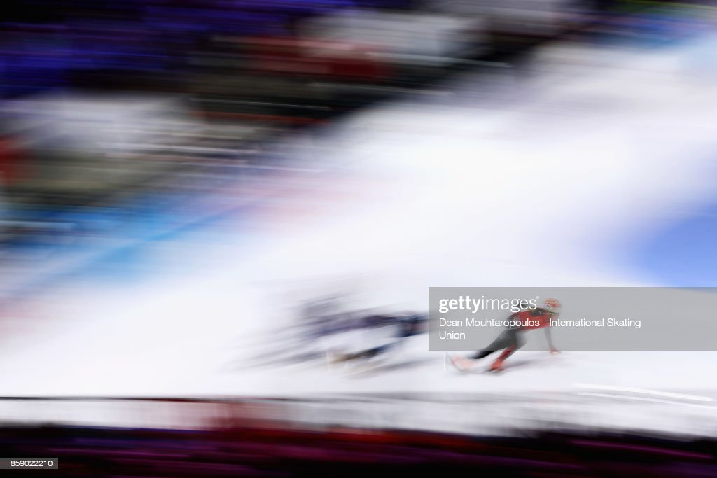 Ren Ziwei of China competes in the Mens 1000m Quarter Finals during the Audi ISU World Cup Short Track Speed Skating at Optisport Sportboulevard on October 8, 2017 in Dordrecht, Netherlands.