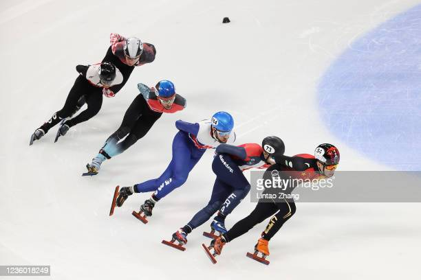 Ren Ziwei of China leads the pack in the Ladies 1500m quarterfinals during the day one of ISU World Cup Short Track at Beijing Capital Gymnasium on...