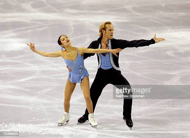 Rena Inoue and John Baldwin compete in free skate portion of the pairs competition during the ISU Four Continents Figure Skating Championships...