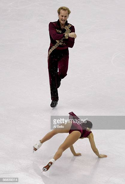 Rena Inoue and John Baldwin from United States compete in the Pairs Free Skating Figure Skating during Day 3 of the Turin 2006 Winter Olympic Games...