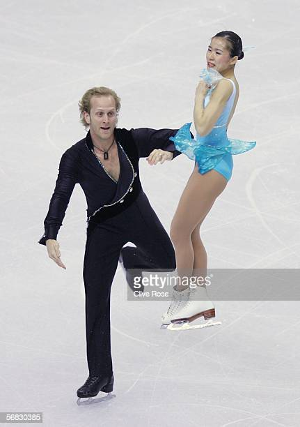 Rena Inoue and John Baldwin of the United States compete in the Pairs Short Program Figure Skating event during Day 1 of the Turin 2006 Winter...
