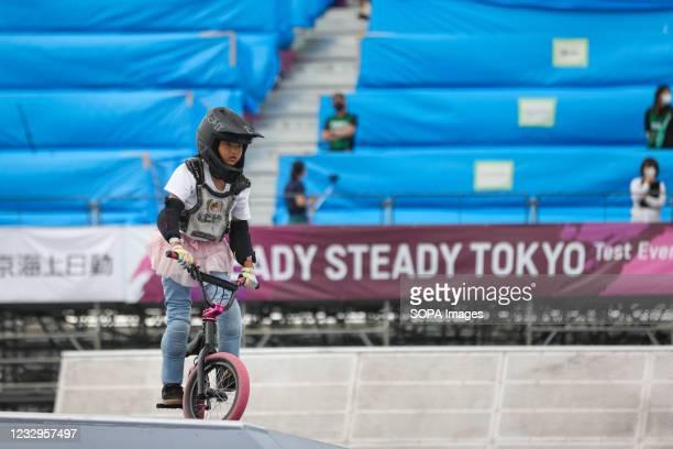 Rena Shirai in action during warm up for the first heat of the BMX Freestyle Ready Steady Tokyo Olympic test event in Ariake Urban Sports Park.