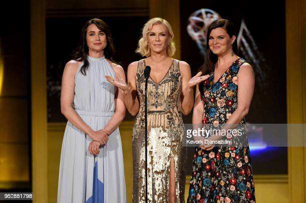 Rena Sofer Katherine Kelly Lang and Heather Tom speak onstage during the 45th annual Daytime Emmy Awards at Pasadena Civic Auditorium on April 29...