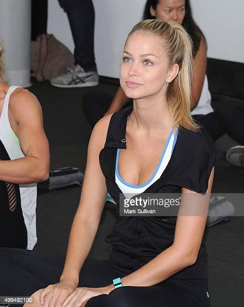 Renae Ayris during Fitbit workout at North Bondi Surf Lifesaving Club on December 2 2015 in Sydney Australia