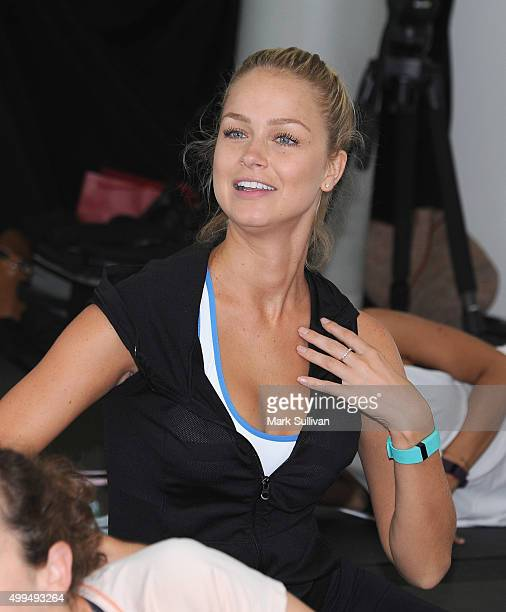 Renae Ayris during the Fitbit launch workout at North Bondi Surf Lifesaving Club on December 2 2015 in Sydney Australia