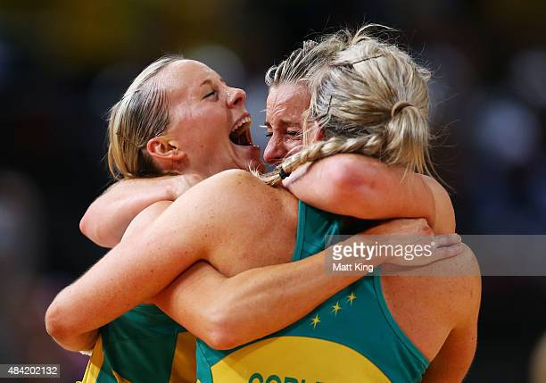 Renae Hallinan Laura Geitz and Julie Corletto of the Diamonds celebrate victory in the 2015 Netball World Cup Gold Medal match between Australia and...