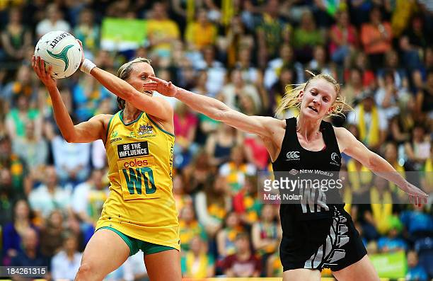 Renae Hallinan of Australia and Shannon Francois of New Zealand contest possession during game five of the Constellation Cup series between the...
