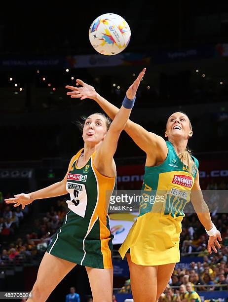 Renae Hallinan of the Diamonds competes with Erin Burger of South Africa during the 2015 Netball World Cup Qualification round match between...
