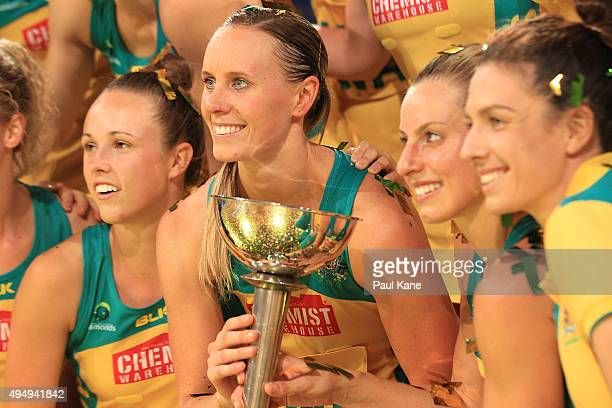 Renae Ingles and Laura Geitz of Australia hold the 'Constelation Cup' after winning the series during the International Test Match between the...