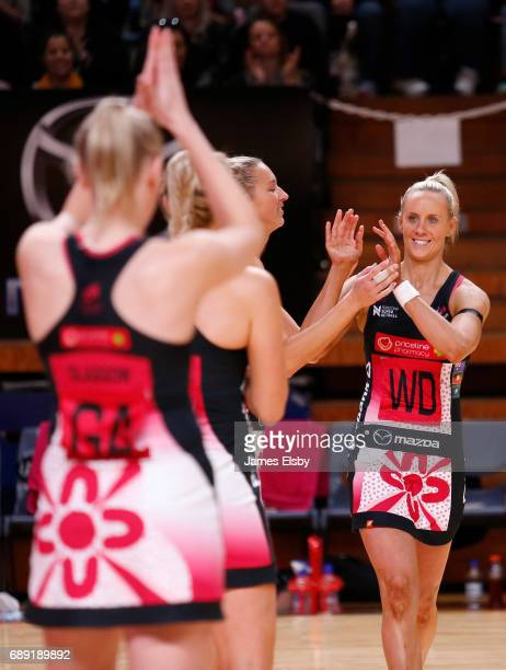 Renae Ingles of the Thunderbirds comes out for her last game during the round 14 Super Netball match between the Thunderbirds and Magpies at Titanium...