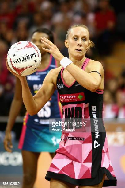 Renae Ingles of the Thunderbirds looks to make a pass during the round eight Super Netball match between the Thunderbirds and the Vixens at Priceline...