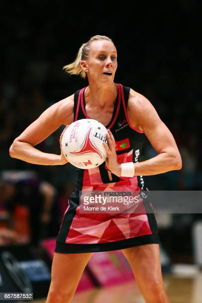 Renae Ingles of the Thunderbirds passes the ball during the round six Super Netball match between the Thunderbirds and the Firebirds at Titanium...