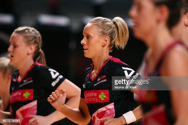 Renae Ingles of the Thunderbirds warms up before the start of the round six Super Netball match between the Thunderbirds and the Firebirds at...