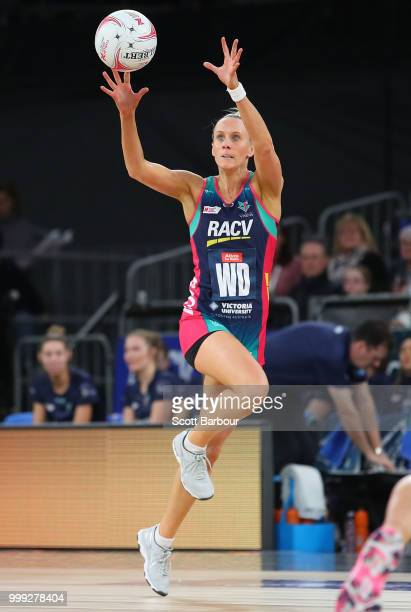 Renae Ingles of the Vixens competes for the ball during the round 11 Super Netball match between the Vixens and the Thunderbirds at Hisense Arena on...